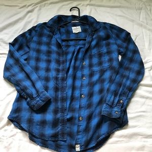 Blue and black American Eagle flannel
